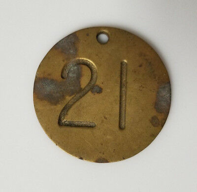 Vintage Brass Label Tag Coat Check Room Key 21