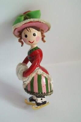 Kurt Adler Christmas Ornament Wood Victorian Lady Ice Skater Pigtails Muff Wood
