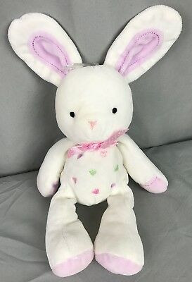 Carters Just One Year White & Purple Pastel Hearts Plush Bunny Rabbit stuffed