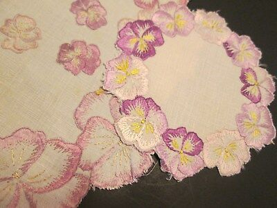 """2 Antique Silk Society Pansy Linen Cocktail Doily Hand Embroider Floral5"""" & 10"""""""