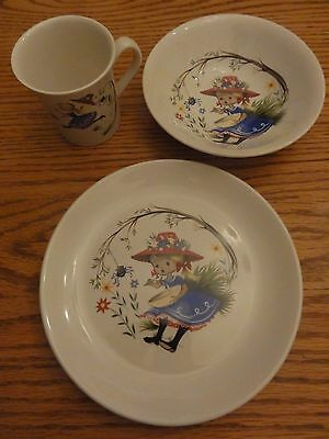 Gorgeous RARE Child's Set James Kent OLD FOLEY Nursery Rhymes LITTLE MISS MUFFET