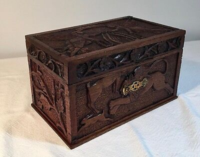 Antique Hand Carved Box w/ Egyptian, Lions and Tiger Scenes