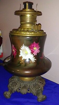 Large Antique Oil/kerosene Lamp Font And Base,consolidated,hand Painted Flowers