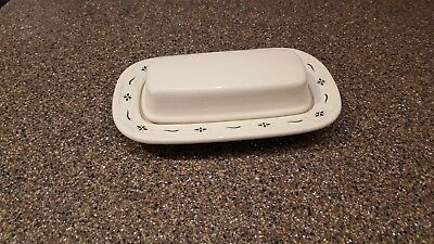 Longaberger Woven Traditions Pottery Covered Butter Dish - Heritage Green