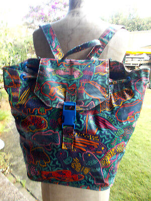 1980s VINTAGE/RETRO PVC KEN DONE MULTI COLOURED TROPICAL FISH BACKPACK TOTE BAG