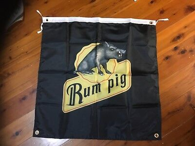 used rum pig Bundaberg rum qld  bar man cave printed poster flag  pool room sign
