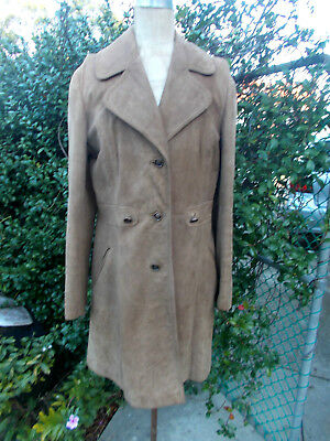 1960''s VINTAGE GLORIA SUPER SUEDE LEATHER by GOMSHALL LADIES COAT size 10 V/G/C