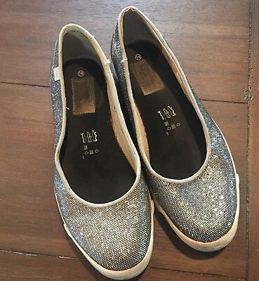 Converse One Star Silver Glitter Women's Slip On Shoes Size 8 1/2
