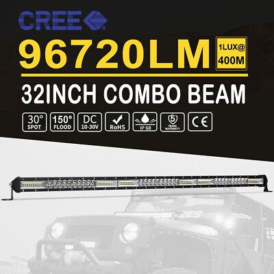 32Inch 2496W Quad Rows LED Light Bar Combo Beam 4x4 Work Driving Lamp Offroad 30
