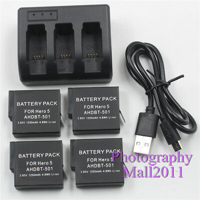4x AHDBT-501 / AABAT-001 Battery + 3 Channel Charger For GoPro Hero 7 5 6 Black