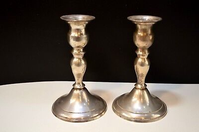 FREE SHIP Vintage Silver Plate Candle Stick Holder Set Of 2 Shabby Chic