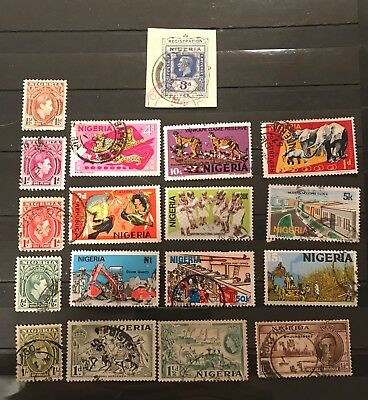 Nigeria  postage stamps lot of 18 old          M