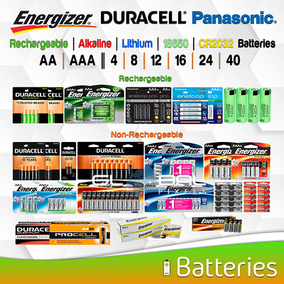 AA AAA Battery Energizer Duracell Eneloop 18650 mAh Rechargeable/NonRecharge Lot