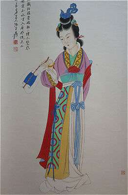 """Excellent Chinese 100% Hand Painting & Scroll  """"Beauty""""By Zhang Daqian 张大千 ABT89"""