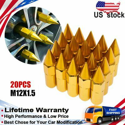 20X Cap Spiked Extended Tuner Aluminum M12X1.5 60mm Wheel Rim Lug Nuts For Hond