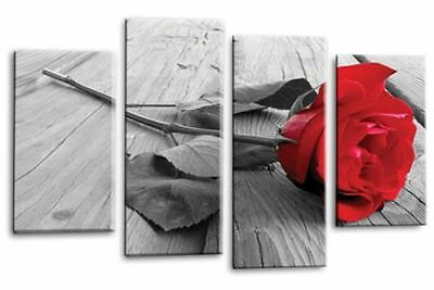 FLORAL ROSE Canvas Wall Art Picture Large Red Grey White Love 4 Split Panel