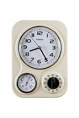 Metal Retro Kitchen Wall Clock • Temperature Gauge • Mechanical Timer • Ivory
