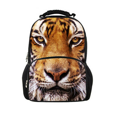 Mens Boys Backpack Tiger Print Shoulder Satchel Out Pocket Back To School Bags