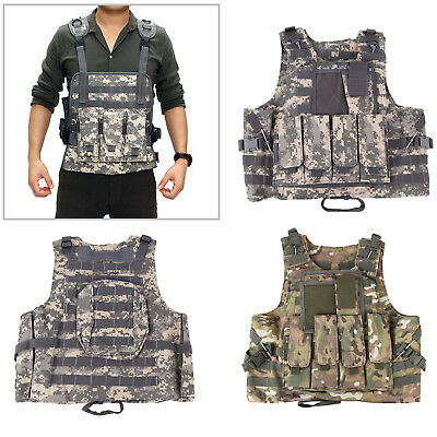 Military Tactical Vest Paintball Molle Jacket Plate Carrier Hunting With Pouches