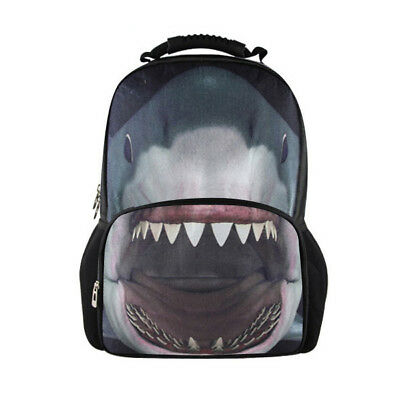 Mens Backpack Grey Shark Shoulder Bag Kids Children School Bookbag High Quality