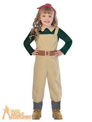Child Land Girl Costume 1940s WW2 Girls Jumpsuit Wartime Fancy Dress Outfit Kids