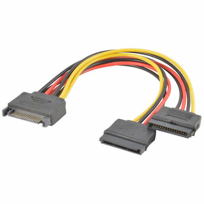SATA Power 15-pin Y-Splitter Cable Adapter Male to Female For Hard Drive HDD