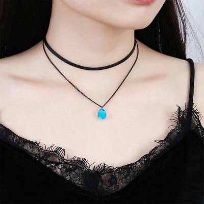 Black Alloy Mermaid Tear Pendant Chokers Necklaces Double Layer Collares Jewelry