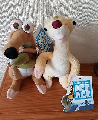 "Ice Age 4 .. Scrat and Sid .. 7"" .. Soft Toys .. Original Tags .. . Vgc"