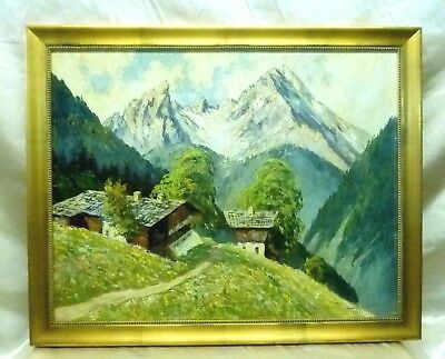"""Signed Estate Vintage """"Cabin in the Mountains"""" Landscape Oil Painting on Wood"""