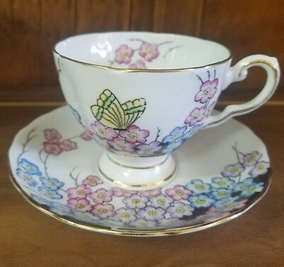Tuscan Fine English Bone China Floral Butterfly Pattern  Cup and Saucer