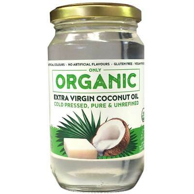 "New ""Only ORGANIC"" 100% Pure Cold Pressed Extra Virgin COCONUT OIL 300 gm"