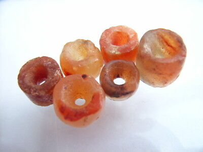 6 Ancient Neolithic Carnelian Beads, Stone Age, VERY RARE! TOP!