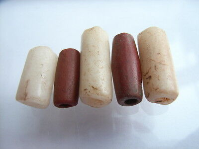 5 Ancient Neolithic Red Jasper, Quartz Beads, Stone Age, VERY RARE! TOP!