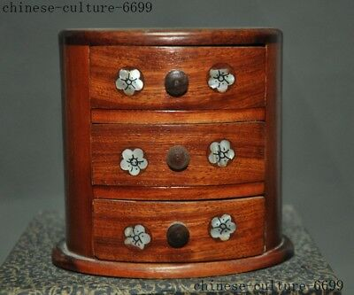 Chinese huanghuali wood inlay shell lucky flower statue drawer Jewelry Box boxes