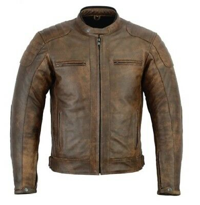 Rksports 06 Mens Casual Fashion Leather Motorcycle Worn look Jacket with Armour