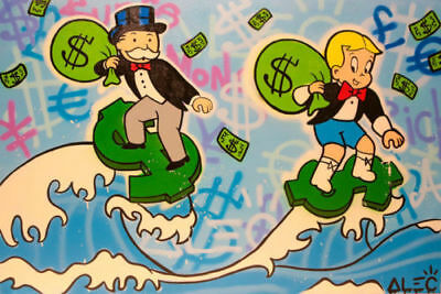 Alec-Monopoly Hand-Painted Oil Painting art graffiti canvas ,richie surfing 32