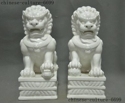"12"" old Chinese Dehua white porcelain carving Feng shui foo dog lion Statue pair"