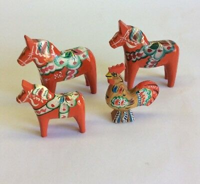 Nils Olsson Swedish Dala Horses And Rooster Sweden Folk Art Hand Painted Lot