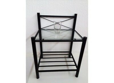 Brooklyn black Metal and glass bedside table
