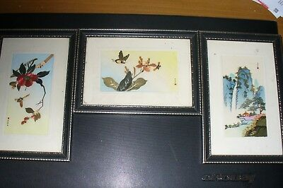 Chinese Pictures Created With Pieces Of Straw And Painted. Each One Is Signed