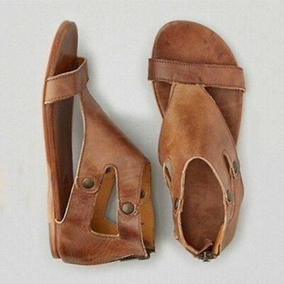 8f88380e9118 Rome Gladiator Sandals Womens Lady Summer Ankle Strap Flat PU Leather Shoes  Size