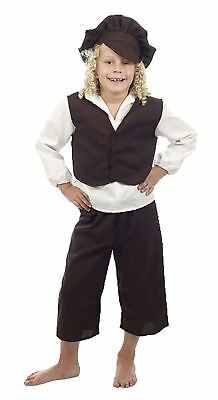 Childrens Victorian Orphan Boy Costume Kids Book Week Day Parties Fancy Dress