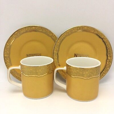 Nescafe Special Edition Promotional Gold Coffee Espresso Cups Saucers Set Pair