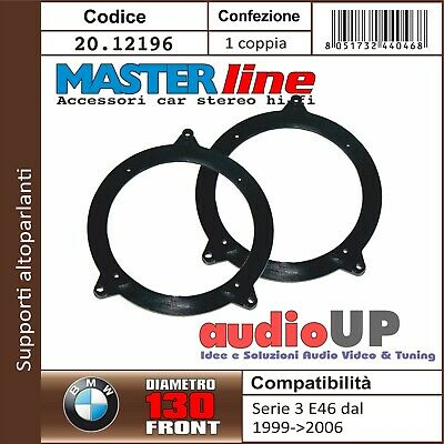 COPPIA SUPPORTI ALTOPARLANTI 130mm BMW SERIE 3 E46 1999-> ADATTATORI ANT/POST