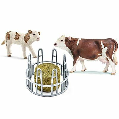 Schleich hay rack with Fleckvieh cow and calf 13641 13802 41421 3er Set