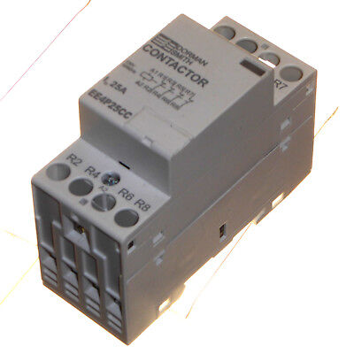 25 Amp Contactor 230V coil 4 Pole Normally Closed DIN Rail Mount Dorman Smith