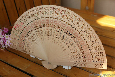 Chinese Wooden Bamboo Folding Hand Fan Wedding Party Flower Pattern Vintage SP