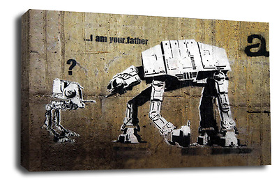 BANKSY Art Picture Graffiti I Am Your Father Star Wars Abstract Canvas Print