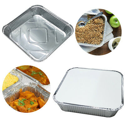 """9"""" x 9"""" NO9 LARGE ALUMINIUM FOIL FOOD CONTAINERS WITH LIDS OVEN TAKEAWAY UKED"""