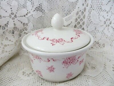 Vintage Laura Ashley Roses & Ribbons Covered Trinket Pot Powder Bowl - English